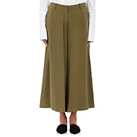 Ji Oh Women's Silk Crepe Gaucho Pants Dark Green