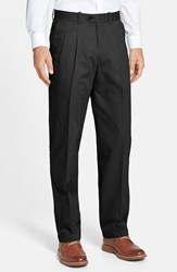 Men's Big And Tall John W. Nordstrom Smartcare Pleated Supima Cotton Pants Black