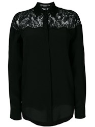 Stella Mccartney Lace Inset Shirt Women Silk Cotton Polyamide 44 Black