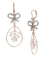 Betsey Johnson Ballerina Rose Bow Orbital Drop Earrings Pink