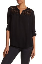 Daniel Rainn Crochet Yoke Blouse Black