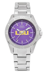 Jack Mason Brand 'Louisiana State University Tigers' Bracelet Watch 38Mm Silver Purple