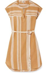 Lemlem Derartu Belted Striped Cotton Gauze Mini Dress Saffron