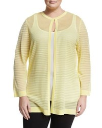 Ming Wang Striped Illusion Long Sleeve Jacket Yellow