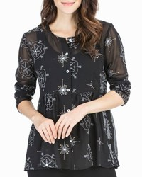 Joan Vass Long Sleeve Button Front Embroidered Top Black