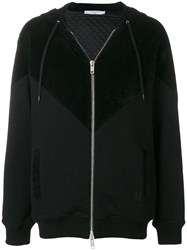 Givenchy Panelled Zip Front Hoodie Black