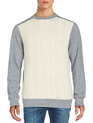 Robert Graham Cable Knit Front Merino Wool Sweater Oatmeal