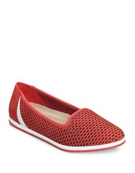 Aerosoles Smart Move Perforated Leather Slip On Sneakers Coral