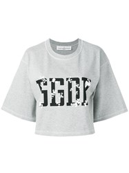 Golden Goose Deluxe Brand Logo Print Top Grey