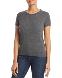 Bloomingdale's C By Short Sleeve Cashmere Sweater 100 Exclusive Medium Gray