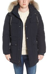Psycho Bunny Men's Banks Down Jacket With Genuine Coyote Fur Trim