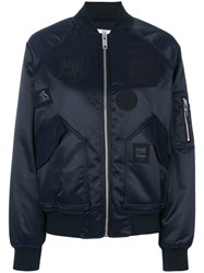 Versus Patched Bomber Jacket Women Polyamide Polyester Acetate 42 Blue