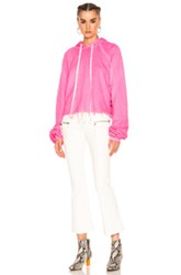 Unravel For Fwrd Cropped Oversized Sleeve Hoodie In Neon Pink Neon Pink