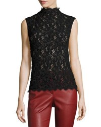 Helmut Lang Lace Embossed Shell Top Black