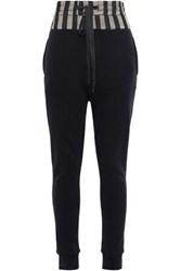 Ann Demeulemeester Woman Satin Paneled French Cotton Terry Track Pants Black