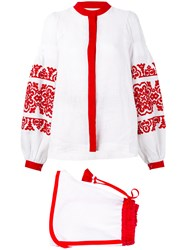 Yuliya Magdych Embroidered Short Suit White