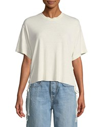 Kendall Kylie Lace Up Boxy Crewneck Tee Beige