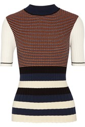 Opening Ceremony Striped Metallic Ribbed Knit Sweater Navy