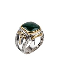 Konstantino Men's Aventurine Sterling Silver Signet Ring With 18K Gold Accents Green
