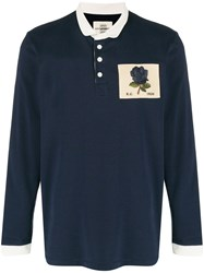 Kent And Curwen Rose Long Sleeve Polo Shirt Blue
