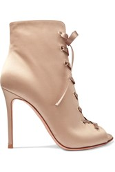 Gianvito Rossi Lace Up Satin Boots Neutral