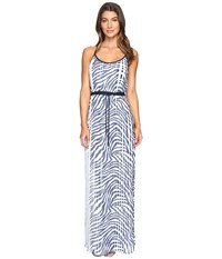 Michael Michael Kors Plains Zebra Pleat Maxi True Navy Women's Dress