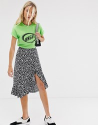 Bershka Ditsy Floral Asymmetric Skirt In Black Black