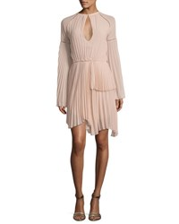 Rachel Gilbert Pleated Long Sleeve Cocktail Dress Flesh