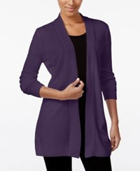 Karen Scott Open Front Sweater Cardigan Only At Macy's Only At Macy's Purple Dynasty