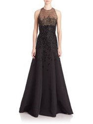 Carmen Marc Valvo Sleeveless Beaded Faille Gown Black