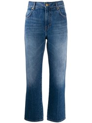 Victoria Beckham Embroidered Logo Cropped Jeans Blue
