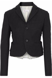 Red Valentino Lace Up Pleated Cotton Blend Blazer Black