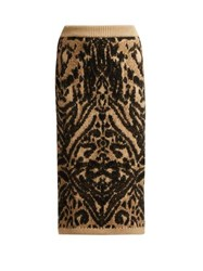 Raey Tiger Knitted Pencil Skirt Brown Multi