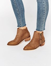 Glamorous Zip Taupe Flat Ankle Boots Taupe Mf Stone