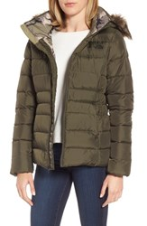 The North Face Women's Gotham Ii Hooded Water Resistant 550 Fill Power Down Jacket With Faux Fur Trim New Taupe Green