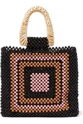 Ulla Johnson Amaya Beaded And Wicker Tote Black