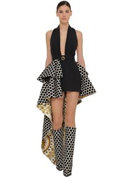 Fausto Puglisi Stretch Cady And Printed Velvet Dress Black