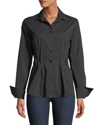 Finley Victoria Button Front Long Sleeve Fitted Blouse W Darts And Cuff Detail Black