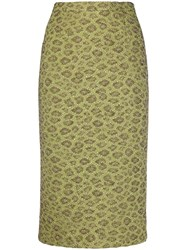 Rochas Metallic Floral Embroidered Pencil Skirt Green