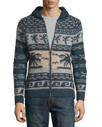 Faherty Jaco Cowichan Shawl Zip Cardigan Navy