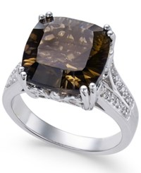 Macy's Smoky Quartz 5 Ct. T.W. And White Topaz Accent Ring In Sterling Silver Brown