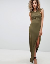Ax Paris Bardot Maxi Dress With Side Split Green