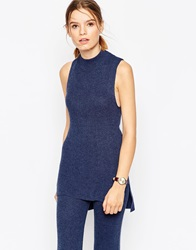 Asos Co Ord Tunic In Rib With High Neck Blue