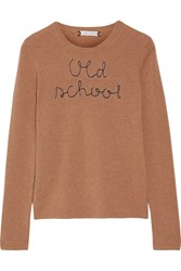 Lingua Franca Old School Embroidered Cashmere Sweater Sand