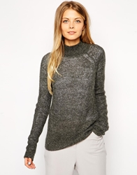 Asos Ribbed Jumper With Turtle Neck In Mohair Darkgrey