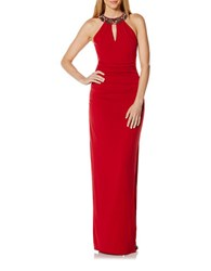 Laundry By Shelli Segal Beaded Neckband Long Gown Sultry Red