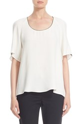 Women's Lafayette 148 New York 'Kalia' Piped Slit Sleeve Silk Blouse