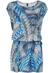 Lygia And Nanny 'Irere' Printed Tunic Polyester Spandex Elastane Blue