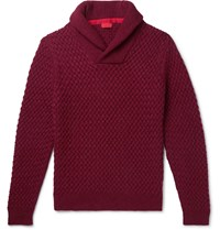 Isaia Slim Fit Shawl Collar Cable Knit Cashmere Sweater Burgundy