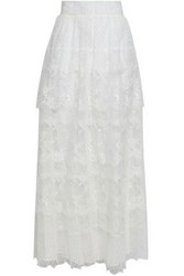 Valentino Tiered Lace Maxi Skirt Ivory